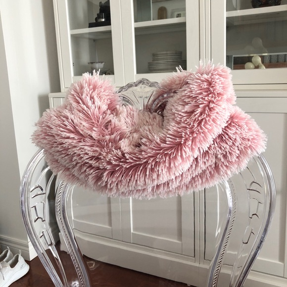 Pink Fluffy Infinity Scarf